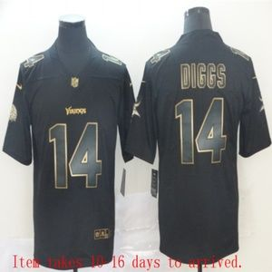 Vikings #14 Stefon Diggs Black Golden Jersey